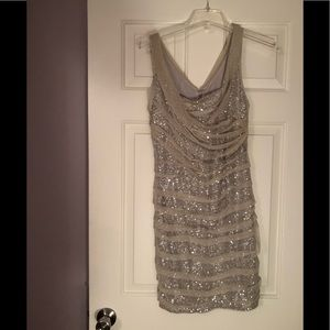 Express ruched sequin dress